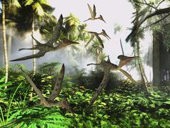 A flock of Pterodactylus reptiles fly over the jungle searching for their next Stock Illustration