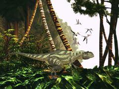 A Yangchuanosaurus hunts through jungle foliage for prey. Stock Illustration