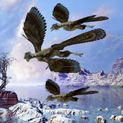 Archaeopteryx birds fly near a shoreline on a cloudy prehistoric day. - stock illustration