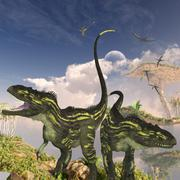 Torvosaurus dinosaurs on a cliff searching for prey. - stock illustration