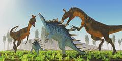 A Kentrosaurus rears up to defend her offspring from Cryolophosaurus dinosaurs. - stock illustration