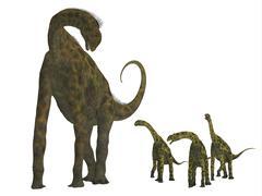 Atlasaurus with offspring. - stock illustration