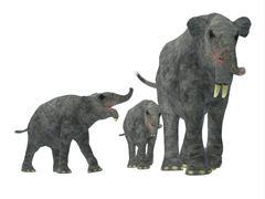 Deinotherium with offspring. - stock illustration