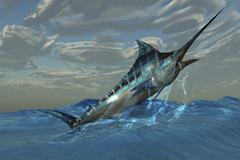 An iridescent Blue Marlin bursts from ocean waters. Stock Illustration