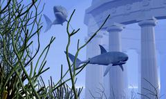 Two Mako sharks swim by an underwater greek temple. Stock Illustration