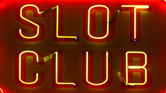 Zoom Out - Slot Club Neon Casino Sign - - Las Vegas Stock Footage