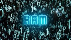 Bluish RAM concept with digital code Stock Footage