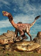 Citipati on a rock in an arid landscape. Stock Illustration