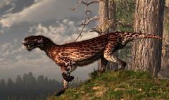 A leopard coated Lycaenops hunts among a forest. Stock Illustration