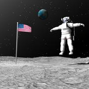 First astronaut on the moon floating next to American flag. - stock illustration