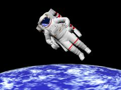 Astronaut floating in outer space above planet Earth. - stock illustration