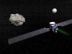 Dawn robotic spacecraft orbiting Ceres and Vesta. Stock Illustration