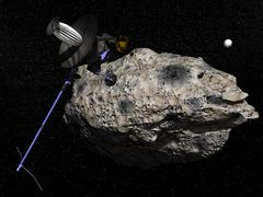 Galileo spacecraft discovering asteroid 243 Ida and its moon, Dactyl. Stock Illustration