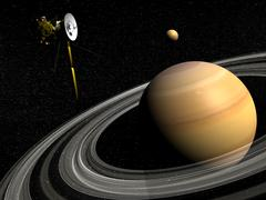 Cassini spacecraft orbiting Saturn and and its moon Titan. Stock Illustration