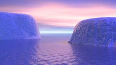 Two icebergs face to face in the ocean with pink and violet sunrise. Stock Illustration