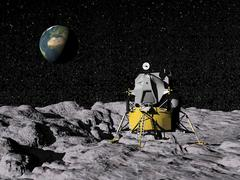 Apollo on surface of moon, with Earth in the background. Stock Illustration