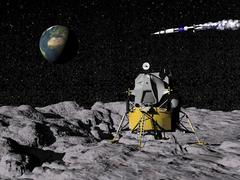 Apollo on surface of moon, with Saturn V rocket in the background. Stock Illustration