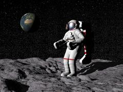 Astronaut on moon with Earth in the background. - stock illustration