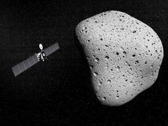 Rosetta probe and comet 67P Churyumov-Gerasimenko. Stock Illustration