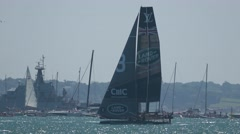 America's Cup qualifying - Team BAR performs a gybe. Stock Footage