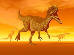 Three Monolophosaurus dinosaurs in the desert by sunset. Stock Illustration