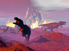Tyrannosaurus Rex dinosaurs escaping a big meteorite crash. Stock Illustration