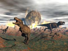 Tyrannosaurus Rex dinosaurs escaping a big meteorite crash. Stock Illustration