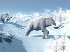 Mammoths walking slowly on the snowy mountain against the wind. Stock Illustration