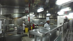 Spotless Clean Stainless Steel Galley Kitchen On A Cruise Ship 4K - stock footage