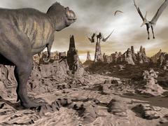 Tyrannosaurus Rex dinosaur and Pteranodons on a rocky desert landscape. - stock illustration