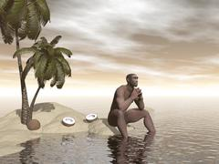 Male Homo Erectus sitting alone on a beach island next to coconuts. Stock Illustration