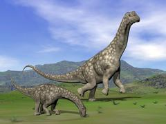 Mother Argentinosaurus dinosaur and baby grazing a green landscape. Stock Illustration