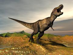 Tyrannosaurus Rex dinosaur walking in desert landscape. Stock Illustration