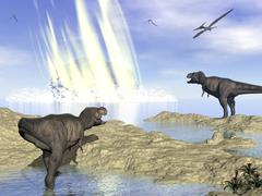 Tyrannosaurus rex and pteranodons watch a meteorite impact. Stock Illustration