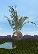 Prehistoric era Cycadeoidea tree. - stock illustration