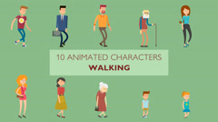 10 Walking Characters Stock After Effects