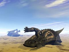 Two Einiosaurus dinosaurs dead in the desert because of lack of water. - stock illustration