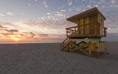 Miami Beach rescue hut at sunrise Kuvituskuvat