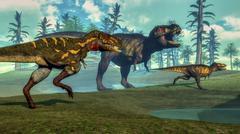 Nanotyrannus hunting a small Tyrannosaurus next to its parent. Stock Illustration