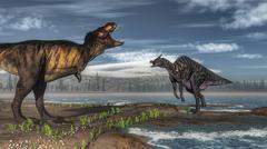 Battle between Tyrannosaurus rex and Saurolophus. - stock illustration