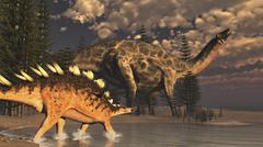 Dicraeosaurus and Kentrosaurus dinosaur walking along the shoreline. Stock Illustration