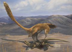 A Deinonychus feeds on the carcass of a Zephyrosaurus - stock illustration
