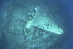 A Japanese Jake seaplane on the seafloor of Palau's lagoon. Stock Photos