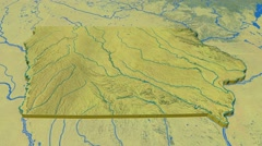 Iowa - United States, region extruded. Topography Stock Footage