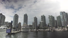False Creek Waterway Downtown Vancouver Canada 4K Stock Footage