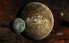 A system of extraterrestrial planets and their moons. - stock illustration