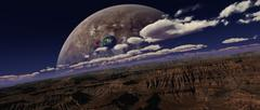 Artist's concept of a canyon on an extraterrestrial world. - stock illustration