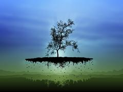 Digitally generated image of a flying tree. Stock Illustration