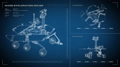 Looping, animated orthographic engineering blueprint of Mars Exploration Rover. Stock Footage