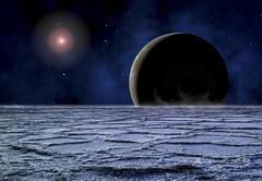 A distant star illuminates an extrasolar planet on the horizon of a frozen moon. - stock illustration